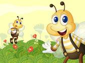 Honeybees in the garden — Stock Vector