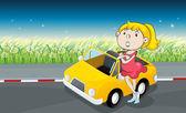 A woman beside a car — Stock Vector