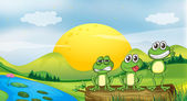 Three frogs at the riverbank — Stock Vector