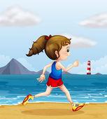 A girl jogging at the beach — Stock Vector