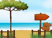 Wooden arrow signboards at the beach — Stock Vector