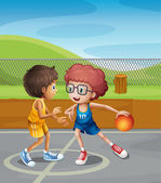 Two boys playing basketball at the court — Stock Vector