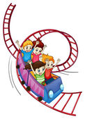 Brave kids riding in a roller coaster ride — Stock Vector