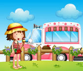A little girl and the ice cream bus — Stock Vector