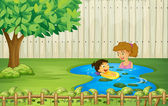 Kids swimming in a pond — Stock Vector