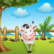 A cow inside the fence - Stock Vector