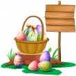 Royalty-Free Stock Vector Image: Easter eggs near a wooden signboard