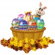 Stock Vector: A basket full of Easter eggs and a bunny