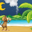 Royalty-Free Stock Vector Image: A monkey strolling in the beach