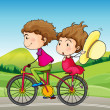 A girl and a boy riding in a bike — Stock Vector