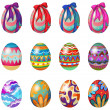 图库矢量图片: Easter eggs with designs and ribbons