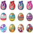 Easter eggs with designs and ribbons — Stockvectorbeeld