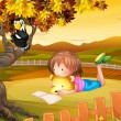 A girl studying outside - Imagen vectorial