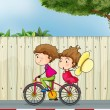 A girl and a boy biking - Stockvektor