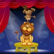 A lion and a beaver performing on the stage — Stock Vector