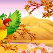 Parrots in an autumn scenery - Stock Vector