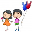 Royalty-Free Stock Vector Image: A boy and a gir holding hands