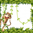 Stock Vector: Monkey in leafy frame