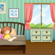 Royalty-Free Stock Vector Image: A girl studying in her room