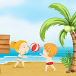 Two children playing volleyball — Stock Vector