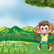 A cheerful monkey in the hills — Stock Vector