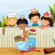 Royalty-Free Stock Vector Image: Kids and the different cakes