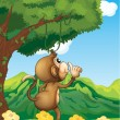 A monkey wondering in the forest — Stock Vector
