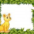 Stock Vector: Young tiger and leafy frame
