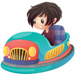 A boy driving bumper car — 图库矢量图片