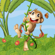 A hanging monkey — Stock Vector