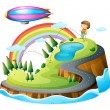 A boy playing golf and a blimp — Stock Vector