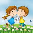 A smiling girl and a boy — Stock Vector