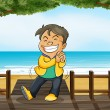 A smiling boy and a beach — Stock Vector #20172919