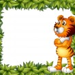 A smiling tiger and plant frame - Imagen vectorial