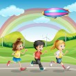 Royalty-Free Stock Obraz wektorowy: A running kids