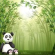 A panda bear and bamboo forest — Stock Vector