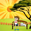 A boy and a cat sitting on a bench — Stock Vector