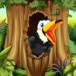 Bird in tree hollow — Stockvector #20173037