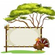 A notice board, a bird and a honey bee - Stock Vector