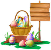 Easter eggs near a wooden signboard — Stock Vector
