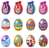 Easter eggs with designs and ribbons — Vecteur