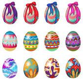 Huevos de pascua con diseños y cintas — Vector de stock