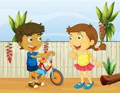 Two children talking — Stock Vector