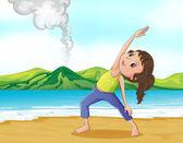 A woman exercising at the beach — Stock Vector