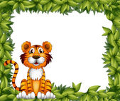 A tiger sitting in a leafy frame — Stock Vector