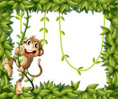 A monkey in a leafy frame — Stock Vector
