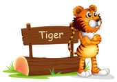 A tiger beside a wooden signboard — Stock Vector