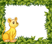 A young tiger and the leafy frame — Stock Vector