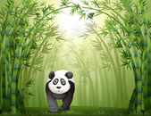 A panda bear and a bamboo forest — Stock Vector