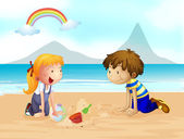 A smiling kids and a rainbow — Stock Vector